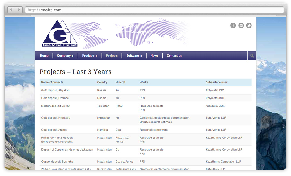 GeoMine Project – website